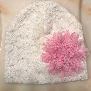 Toddler Girls White Beanie Hat